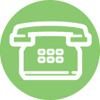 White Outlined Telephone on a Green Background